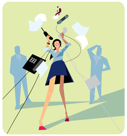 stressed business woman: Office stress. Work stress in office. Hard work and overworked people. Depression at work. Stressed people. Anxiety jobs. Abstract concept of stress work. Illustration