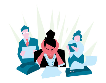 Office stress. Work stress in office. Hard work and overworked people. Depression at work. Stressed people. Anxiety jobs. Abstract concept of stress work. Vettoriali