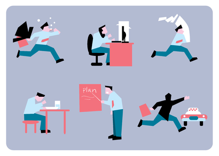 work stress: Office stress. Work stress in office. Hard work and overworked people. Depression at work. Stressed people. Anxiety jobs. Abstract concept of stress work. Illustration