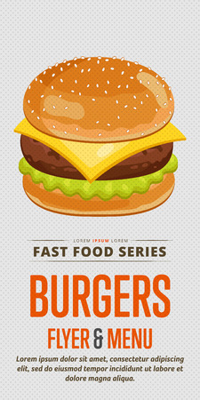 cheeseburger: Cheeseburger menu flyer design template. Template flyer for fast food. Illustration cheese burger with abstract text for future design. Illustration
