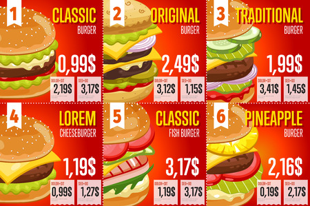 fast food: Fast food restaurant menu template vector illustration elements. Set of abstract advertising price tags about fast food meal. Six banners of fast food. Different burgers and cheeseburgers. Vectores