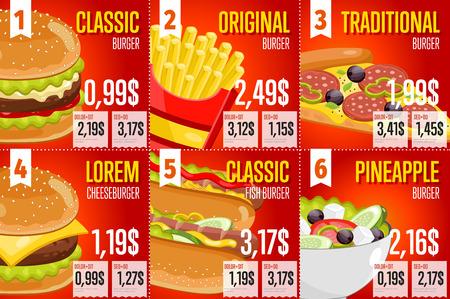 alimentos y bebidas: restaurante de comida elementos de ilustración vectorial plantilla de menú rápido. Conjunto de precios de publicidad abstractas acerca de comida rápida. Seis banderas de comida rápida. Hamburguesas, patatas fritas, perros calientes y pizza. Vectores