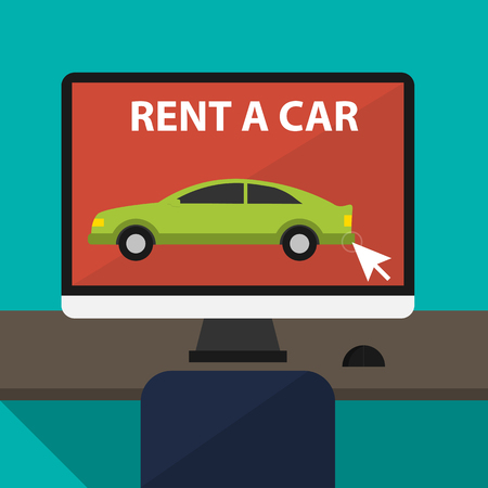 Mieten ein Auto und Handel mit Autos in flaches Design Web-Banner-Elemente. Schlüssel zum Auto auf Miete. Mietwagen-Infografik. Web-Design-Elemente. Vektorgrafik