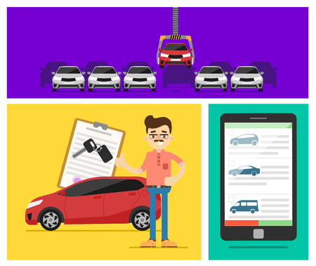 auto leasing: Rent a cars and trading Cars in flat design web banners elements. Keys to the car on rent. Rental car infographic. Web design elements.