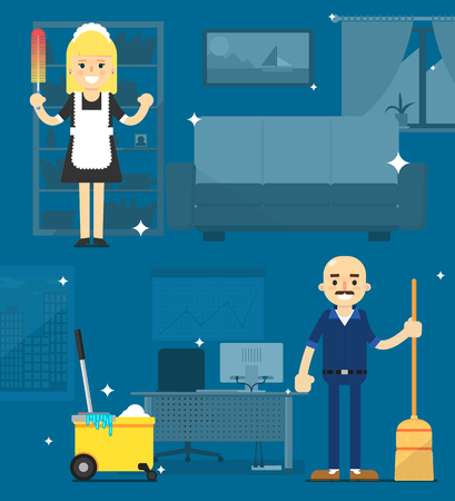squeegee: Two cleaner on abstract office. Silhouette of office space. Night office cleaning. Working a cleaner. Illustration