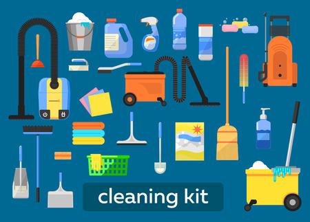 Schoonmaken gereedschap vector set. Icon set voor de schoonmaak. Reinigingsmiddelen, schoonmaken thuis, op kantoor schoon. Vector elementen voor het ontwerp.