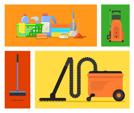 Cleaning tools vector set. Icon set for cleaning service. Cleaning supplies, cleaning home, office clean. Vector elements for design. Stock Vector - 49075764