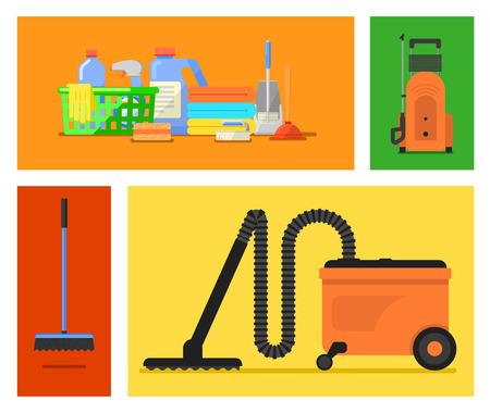 servicio domestico: Herramientas de limpieza conjunto de vectores. Icono fijado para el servicio de limpieza. Artículos de limpieza, limpieza hogar, oficina limpia. Elementos del vector para el diseño.