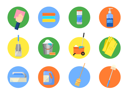tools icon: Cleaning tools vector set. Icon set for cleaning service. Cleaning supplies, cleaning home, office clean. Vector elements for design.