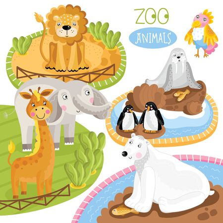 zoo as: Zoo animals. Such as penguin, polar beer, lion and other. Cartoon animals. Stock Photo