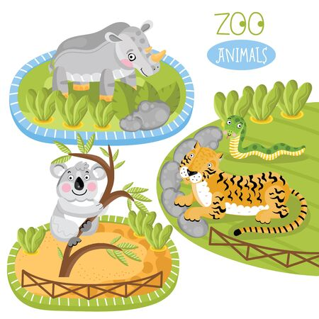 zoo as: Zoo animals. Such as panda, tiger and other. Cartoon animals.