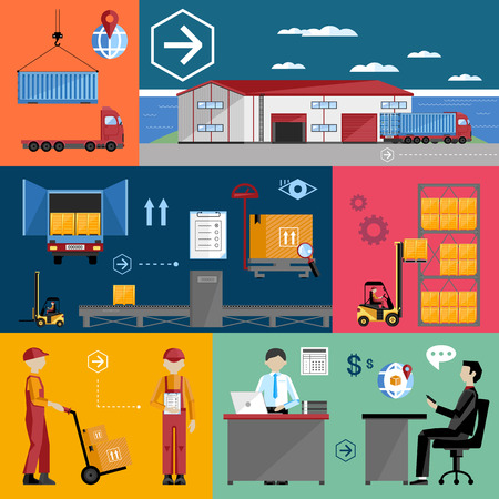 warehousing: Infographics warehousing, logistics and business processes. The process of shipping and cargo management. Flat illustration.