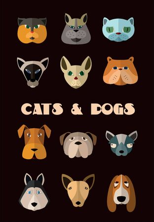 userpic: Big set of icons of cats and dogs with different muzzles. Illustration for web or mobile application to select userpic.
