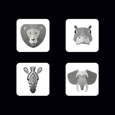 userpic: Set of vector icons of wild animals with different muzzles. Illustration for web or mobile application to select userpic.