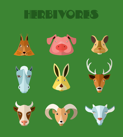 sheep sign: Illustration of farm animals, pig, horse, cow and others for web or mobile application to select userpic.
