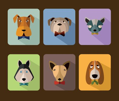 userpic: Big set of icons of dogs with different muzzles. Illustration for web or mobile application to select userpic. Stock Photo