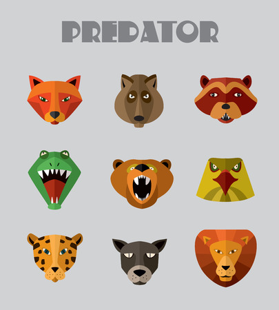 userpic: Illustration of animal predators, tiger, lion, wolf and others for web or mobile application to select userpic.