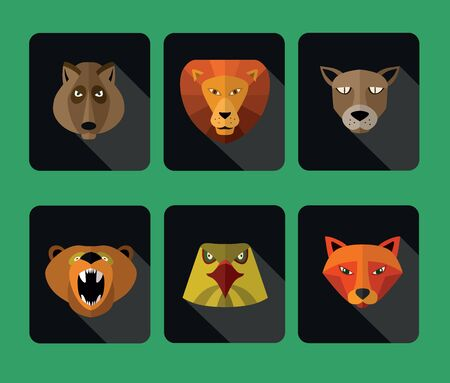 userpic: Illustration of animal predators, lion, bear and others for web or mobile application to select userpic. Stock Photo