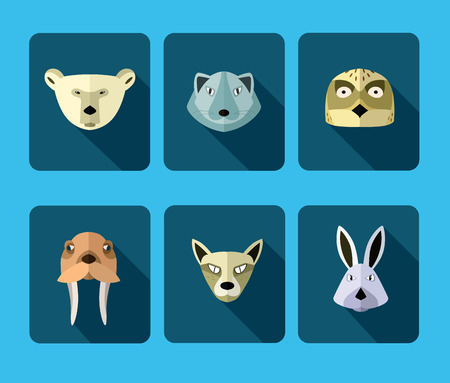 userpic: Illustration of animals of the northern territories, walrus, polar bear, hare and the others. Stock Photo