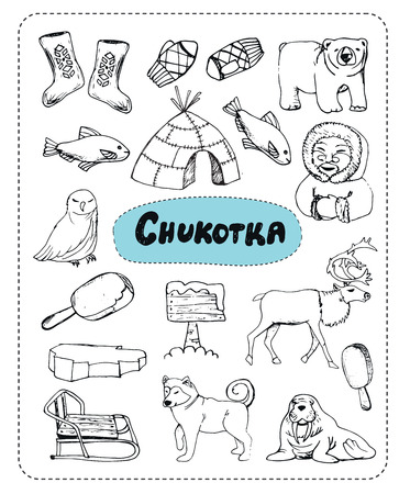 tourist attractions: Tourist attractions of Chukotka set. Hand drawing. Stock Photo