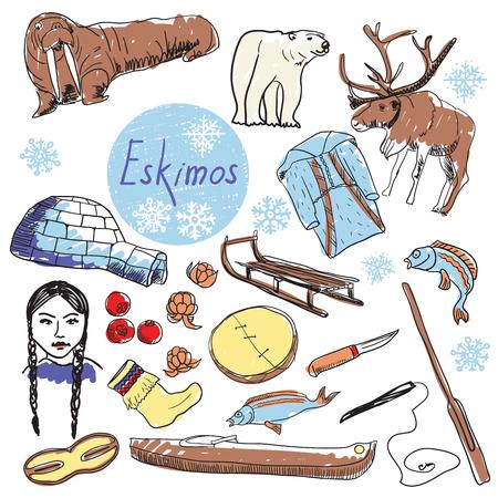 esquimales: Esquimales atractivos turísticos establecidos. Dibujo a mano ilustración.