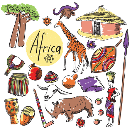 tourist attractions: Tourist attractions of Africa set. Hand drawing illustration.