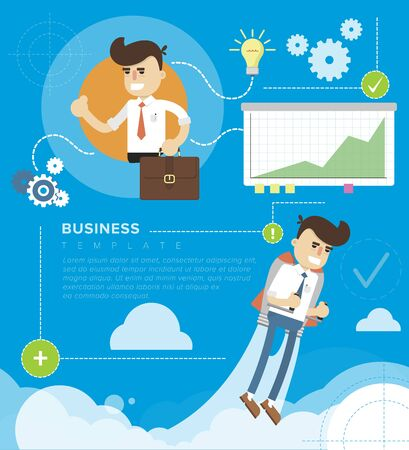 printed work: Flat design illustration concepts elements for business, team work, strategy and startup. Concepts can be used for web banner and printed materials. Stock Photo