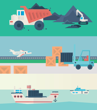 aplication: Logistic Infographics banners set for Web or Mobile aplication. Process of Delivery abstract goods. Flat Illustration. Stock Photo