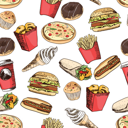 food illustrations: Fast food seamless pattern