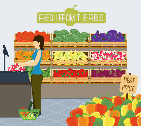 the vegetable: Shelves with vegetables and fruit in a supermarket.