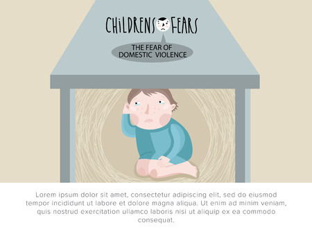 fear child: Childrens fears. Fear of domestic violence. Stock Photo