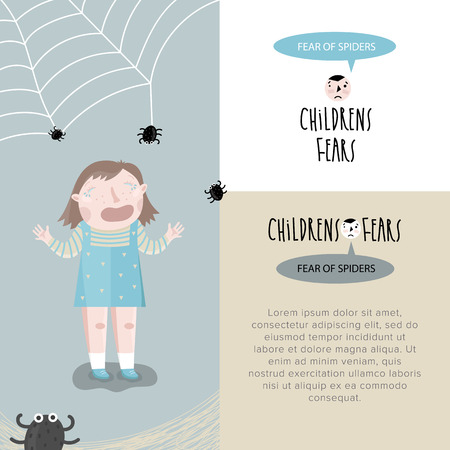 fear: Childrens fears. Fear of spiders.