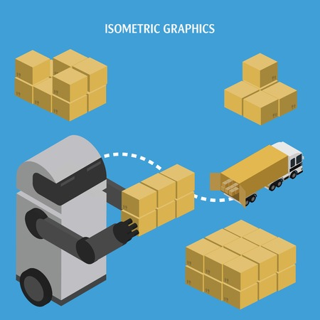 assistant: Isometric illustrations of Robot Assistant warehouse management.