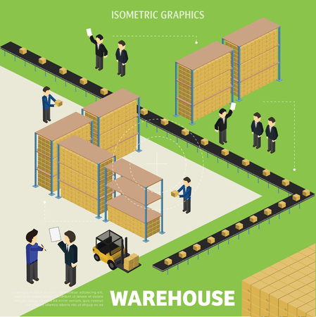 controlled: Isometric Infographics warehouse management and logistics. The process is controlled robots.