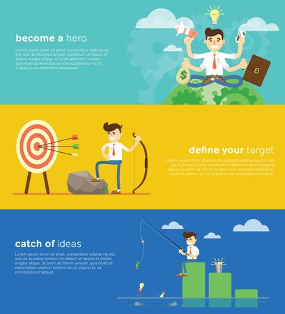 Flat design modern illustration banners of start up new business ideas, sucess, creative elements for website or mobile apps. Stock Photo