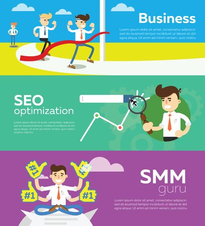 smm: SMM and SEO social media concept flat banners set of processes search engine optimization for websites, mobile application and printed materials. Click infographics elements. Stock Photo