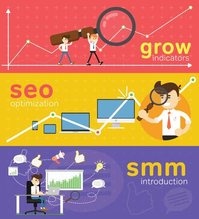 site web: SMM and SEO social media concept flat banners set of processes search engine optimization for websites, mobile application and printed materials. Click infographics elements. Stock Photo