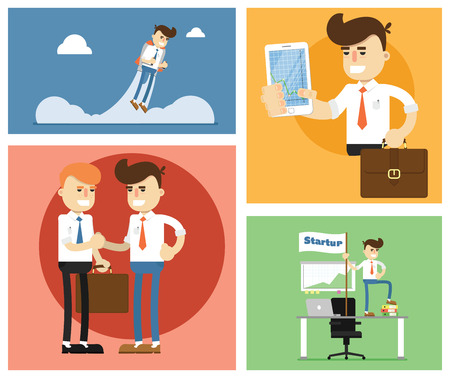 small business office: Flat design modern illustration of start up new business ideas, succed for website, printed materials and mobile apps.
