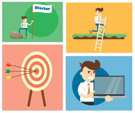 small business team: Flat design modern illustration of start up new business ideas, succed for website, printed materials and mobile apps.