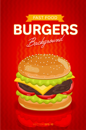 cheeseburger: Cheeseburger banner design template. Fast food restaurant menu template vector illustration elements with abstract advertising tags. Vector cheeseburger with abstract text for design or web banners.