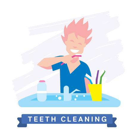 mouth: Dientes de limpieza. Rutina de la ma�ana, la higiene, dientes limpios, cepillo de dientes, pasta de dientes. Dientes sanos sonrisa hermosa. Limpie los dientes - la garant�a de la salud. Vectores