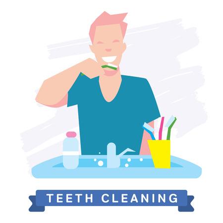 higiene: Dientes de limpieza. Rutina de la mañana, la higiene, dientes limpios, cepillo de dientes, pasta de dientes. Dientes sanos sonrisa hermosa. Limpie los dientes - la garantía de la salud. Vectores