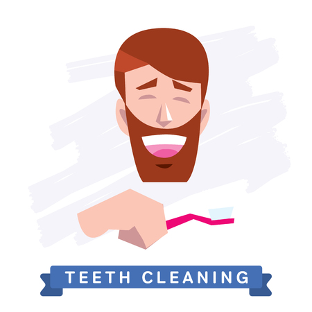 morning routine: Teeth Cleaning. Morning routine, Hygiene, Clean Teeth, Toothbrush, Toothpaste. Beautiful Smile healthy teeth. Clean teeth - the guarantee of health. Illustration