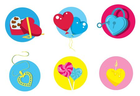 six objects: Happy Valentine Day. A set of decorative elements on holiday Valentine. Six different objects in the form of heart. Balloons, Candy, pendants. Valentine Day elements. Romantic symbol. Illustration