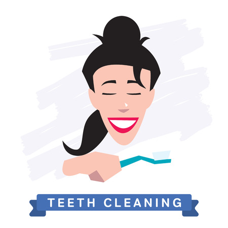 woman washing face: Teeth Cleaning. Morning routine, Hygiene, Clean Teeth, Toothbrush, Toothpaste. Beautiful Smile healthy teeth. Clean teeth - the guarantee of health. Illustration