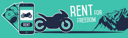 rent: Order rent a motorcycle through a smartphone.
