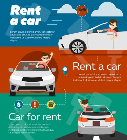 Rent a cars and trading Cars in flat design web banners elements. Keys to the car on rent. Rental car infographic. Web design elements.
