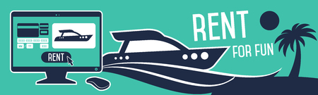 leasing: Order rent a boat through a smartphone. Illustration