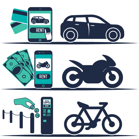 auto leasing: Rent a cars, bike and motorcycle and trading in flat design web banners elements. Rental transport infographic. Web design elements.