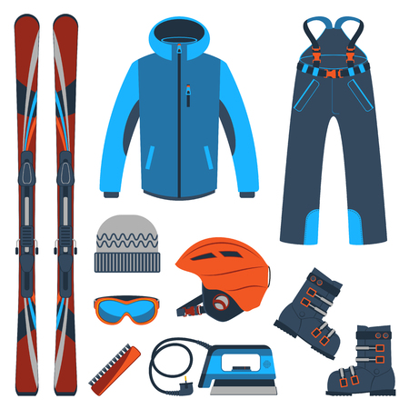 Sprzęt narciarski lub zestaw sprzętu narciarskiego. Sporty ekstremalne zimowe. Narty, gogle, buty narciarskie i inne ubrania. Wektor zestaw ikon narciarskich. Ilustracje wektorowe